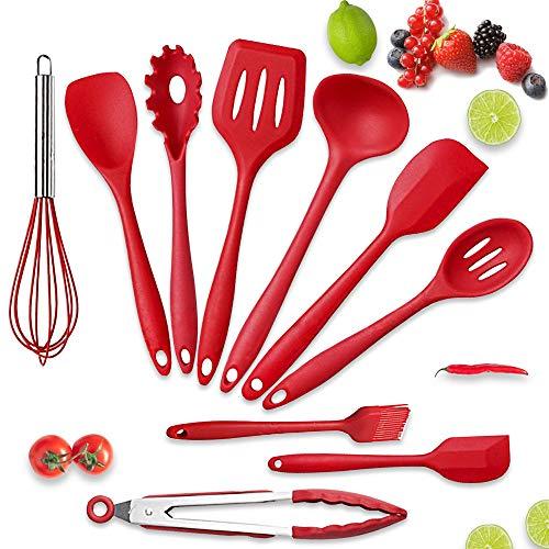 Nasjac Juegos Utensilios Cocina de Silicona, Juego de espátulas de utensilios de cocina de 10 piezas con soporte de acero inoxidable para utensilios de cocina...