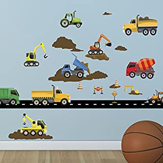 Create-A-Mural : Construction Wall Decals ~Trucks & Vehicles Peel n' Stick Boys Room Decor