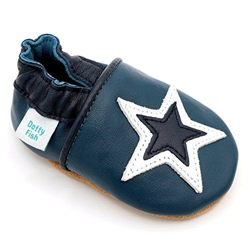 Dotty Fish Zapatos de Cuero Suave para bebés. Antideslizante. Azul Marino y Estrella Blanca. 12-18 Meses (21 EU)