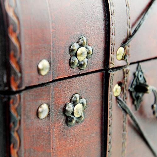 Brynnberg Schatztruhe groß 32x26x20cm Holztruhe Schatzkiste Vintage-Look Piraten braun Kolonialstil Piratentruhe - 5