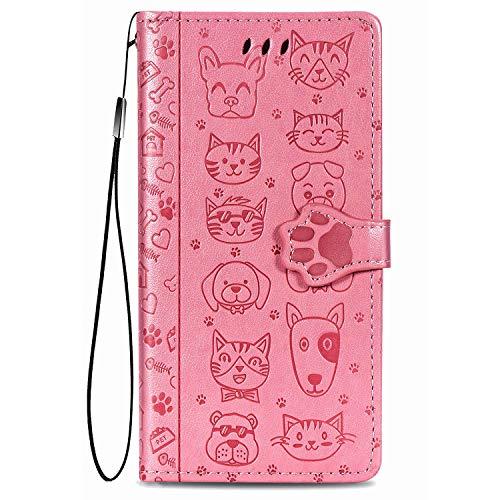 Fertuo Cover per Xiaomi Redmi Note 10 4G / Note 10S, Custodia Portafoglio a Libro in Pelle Flip Cover con Porta Carte, Chiusura Magnetica [Gatto Cane] Case Antiurto per Redmi Note 10, Rosa