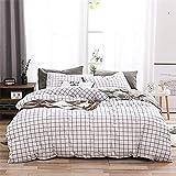 Bed Cover Set Double Duvet Covers Set Reversible Bedding Set Cotton White Black Grid Design 3 Pieces Without Comforter