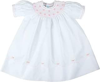 Girls White Smocked Bishop Dress Pink Flowers Pearls Feltman Brothers