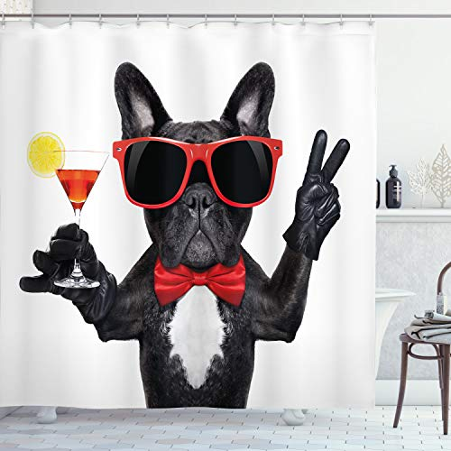 Ambesonne Funny Shower Curtain, French Bulldog Holding Martini Cocktail Ready for The Party Nightlife Joy Print, Cloth Fabric Bathroom Decor Set with Hooks, 75' Long, Vermilion Black