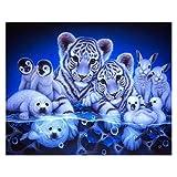 Pintura por números, Kit de Pintura al óleo de Lona de Bricolaje para niños Adultos Pigmento acrílico, Dibujo de Pintura con 3 Pinceles Animal de Tigre (Size : 50x60cm)