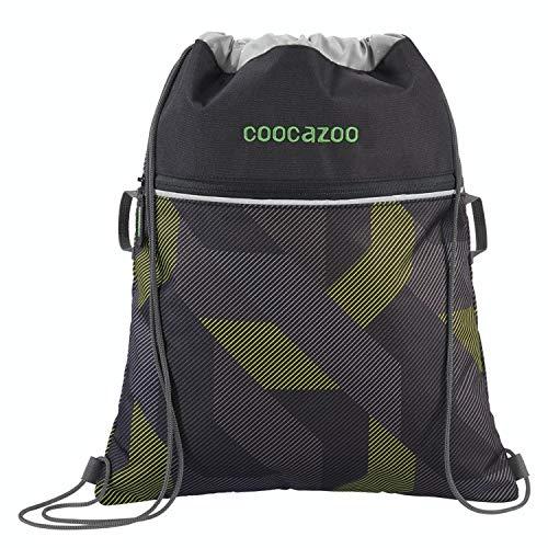 """Coocazoo Sportbeutel RocketPocket """"Polygon Bricks Grey"""", grau, mit Reißverschlussfach und Kordelzug, reflektierende Elemente, Schlaufen zur Befestigung am Schulrucksack, 10 Liter"""