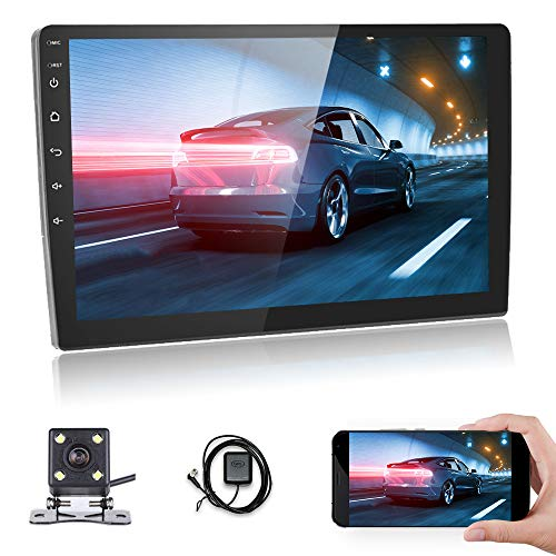 Android Car Stereo 10.1 inch Touch Screen Car Radio with GPS Navigation Double Din Stereo Car Bluetooth FM Receiver Support Phone Mirror Link, with Dual USB Interface + Backup Camera