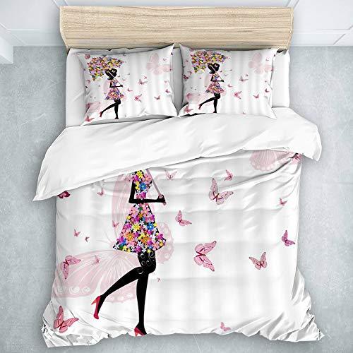 AIMILUX Bettbezug Kissenbezug aus Mikrofaser,Mode Mädchen Märchen Zusammenfassungs Schattenbild der Frau mit Blumenrock Regenschirm gehendem Schmetterlings Tanzen,240x260cm +2 (50x80cm)