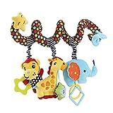 GZQES 1x Bebé Espiral Juguete de Cochecito de Cama Felpa Mono Jirafa Elefante Educativo Juguete Colgando Sonajero para Asiento de Carro Cuna Móvil por SamGreatWorld