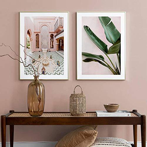 woplmh Wandkunst marokkanischen Brunnen Poster Protea Blumen grün Pflanze Bild Landschaft Leinwand Malerei Druck Home Decor / 50x70cmx2Pcs-kein Rahmen