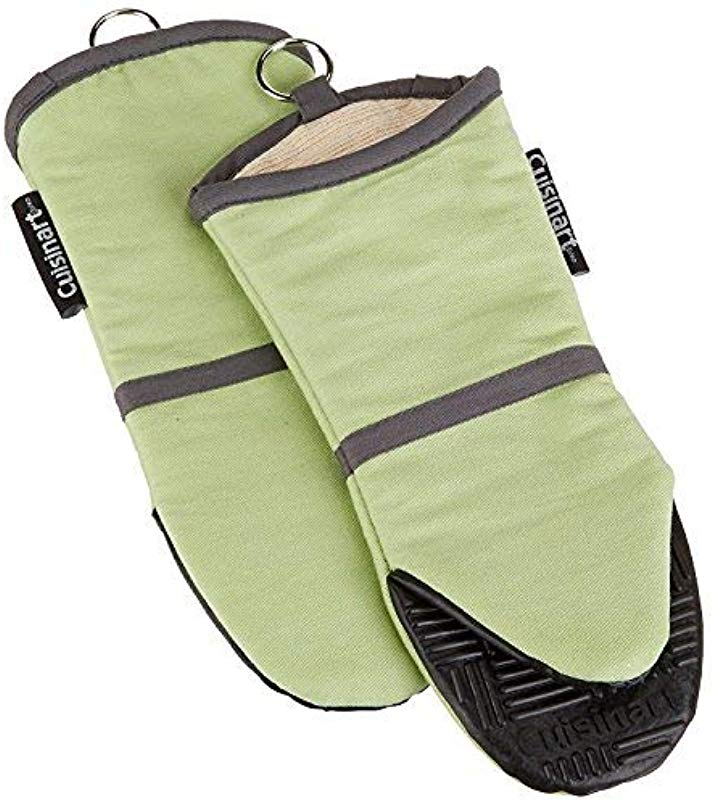 Cuisinart Silicone Oven Mitts Heat Resistant Up To 500 Degrees F Handle Hot Cooking Items Safely Non Slip Grip Oven Gloves With Soft Insulated Deep Pockets And Convenient Hanging Loop Green 2pk