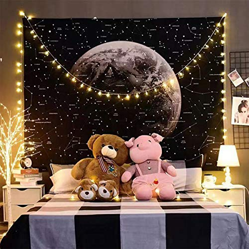 Moon Tapestry Wall Hanging Black and White Nature Landscape Art Tapestry Starry Sky for Home, Bedroom, Mystic Decorations (59.1&51.2 inches, Starry sky)