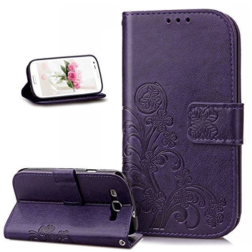 Coque Galaxy S3,Coque Galaxy S3 Neo,ikasus Gaufrage Trèfle Fleur Motif Housse Cuir PU Housse Etui Coque Portefeuille Protection supporter Flip Case Etui Housse Coque pour Galaxy S3/S3 Neo,Violet