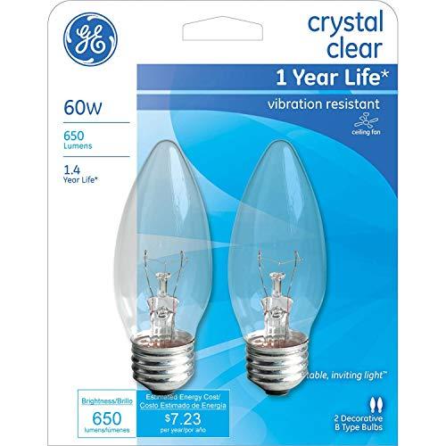 GE Crystal Clear 60 watt Blunt tip 2-Pack 76233