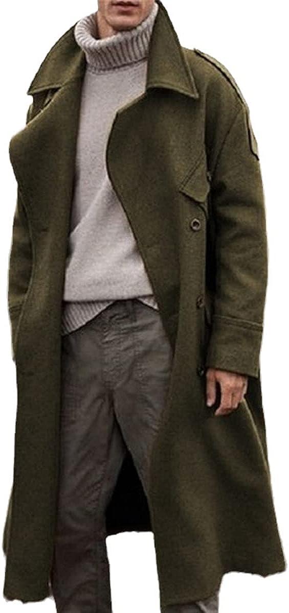 Retro Blended Winter Jacket Men's Long Windbreaker Casual Brown Warm Wool Coat Street Style Windbreaker