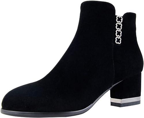 RSHENG Las Stiefel Moda Para damen Versátiles Botines De Tacón Alto schwarz