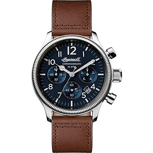 Ingersoll The Apsley Gents Quartz Chronograph Watch I03803 with a Stainless Steel case and Genuine Leather Strap