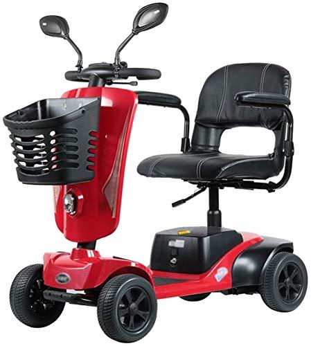 Silla de Ruedas eléctrica, 4 ruedas Scooter eléctrico for Adultos Mayores de energía Scooter Heavy Duty scooter, plegable, que se puede abrir Baranda, 42cm ancho de los asientos, 36 kg con la batería