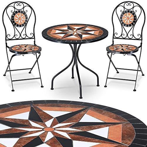 Deuba Mosaik Gartenmöbel Pamplona 3 TLG. Set Mosaiktisch Rund mit 2 Stühlen Gartenmöbel Balkonset Garten Tisch