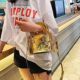 Adebie - 2019 Summer New Fashion Transparent Clear Women Square Handbag Beach Brand Designer Crossbody Shoulder Bag Lady Messenger Bag Gold []