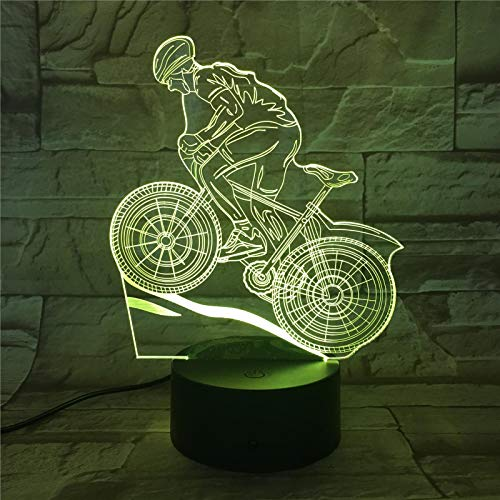 LBJZD Night Light Mountain Bike Sport Touch Table Lamp 7 Colors Changing Desk Lamp 3D Lamp Novelty Led Night Lights USB Light Without Remote Control