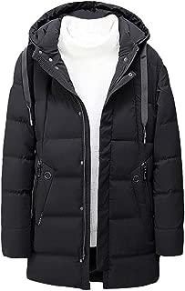 Stoota Men's Winter Coat with Hood, Zipper Pocket Solid Color Jacket for Outdoor Windproof Hiking Camping