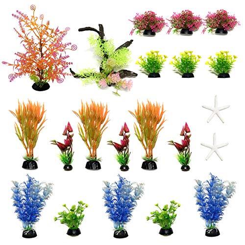 PietyPet Aquarium Pflanzen Deko, 21 Stück künstliche aquariumpflanzen, plastikpflanzen Dekoration Fuer Aquarium, bunt Kunstpflanzen Aquariumdekor, Klein to Groß