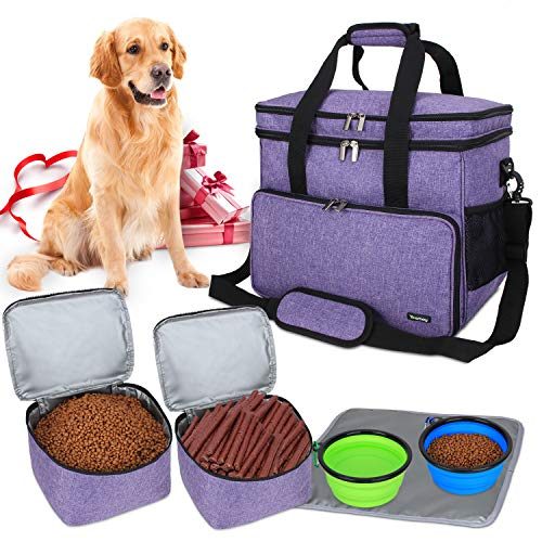 Teamoy Travel Bag for Dog Gear, Dog Travel Bag for Carrying Pet Food, Treats, Toys and Other Essentials, Ideal for Travel, Camping or Day Trips (Large, Purple)