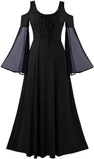 LATINDAY ➢ Dress Women's 2019 Autumn New Mesh Patchwork Strapless Bandage O-Neck Long Sleeve Winter Long Dress