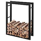 RANSENERS® - Scaffale per legna da ardere, in metallo, 70 x 27 x 95 cm, colore: Nero