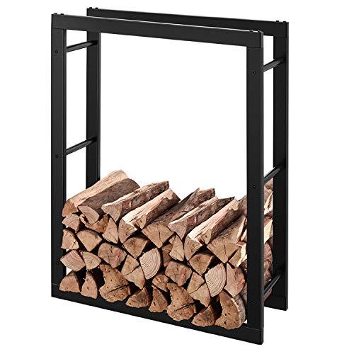RANSENERS® Metall Kaminholzregal Feuerholzregal Brennholzregal Schwarz 70 x 27 x 95cm Stapelhilfe Aussen und Innen
