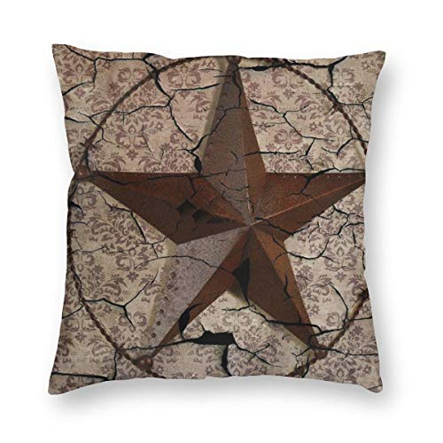 Private Bath Customiz Vintage Rustic Western Country Texas Lone Star Square Cushion Home Decor Throw Pillowcase Pillow Protector Best Pillow Cover 18 X 18 Inch