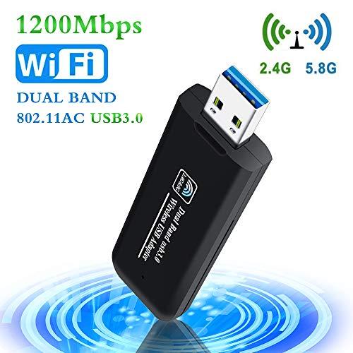 PiAEK Adaptador WiFi USB 1200Mbps 802.11AC Dual Band 2.4GHz/5.8GHz Receptor WiFi USB 3.0 para PC Portátiles de Escritorio Compatible con Windows7/8/10/Vista/Mac Os X/Linux