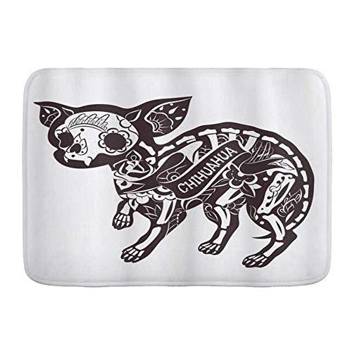 Door Mats,Chihuahua Sugar Skull Like Abstract Artistic Skeleton Dog with Floral Ornaments,Kitchen Floor Bath Rug Mat Absorbent Indoor Bathroom Decor Doormat Non Slip