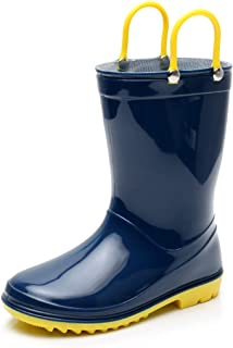 Boys Solid Lightweight Rain Boots with Easy-on Handles Kids Cute Waterproof Shoes (Grey/Black/Blue/Green)