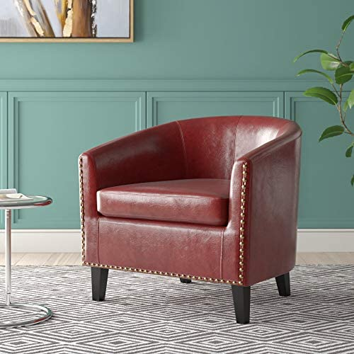 Best BELLEZE Modern Tub Barrel Arm Accent Chair Faux Leather with Nailhead Trim Upholstered, Red