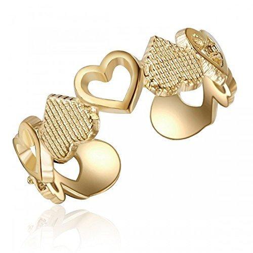 10K Yellow Gold Heart Design Toe Ring, Heart Design Toe Ring, Stylish Yellow 10K Gold Toe Ring, Real...