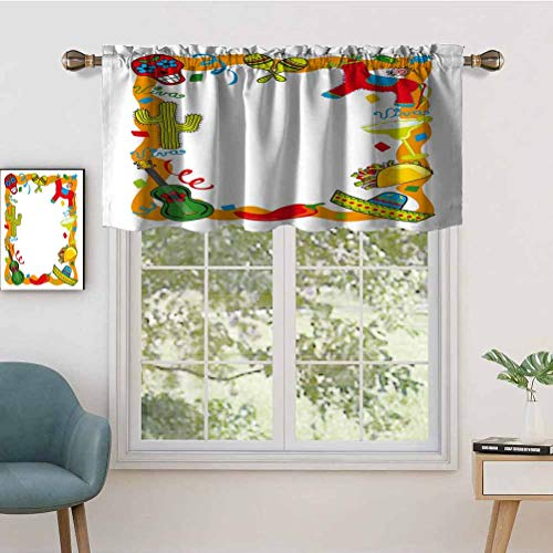 Hiiiman UV Blockout Curtain Valance Cartoon Drawing Style Mexican Pinata Taco Chili Pepper Sugar, Set of 1, 50'x18' for Children Kids Room