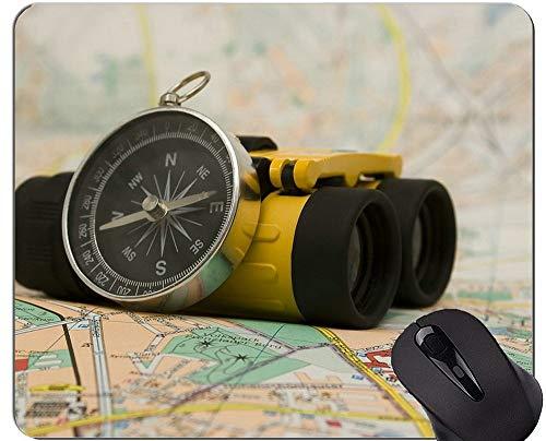 Compass Gaming Mouse Pad Personalizado, Mapa Antiguo Ríos y prismáticos Mouse Pad con Borde Cosido