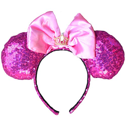 Charmed Creations - Pink Princess Inspired Bow Headband, Mouse Ears, Princess Birthday Party, One Size Fits All
