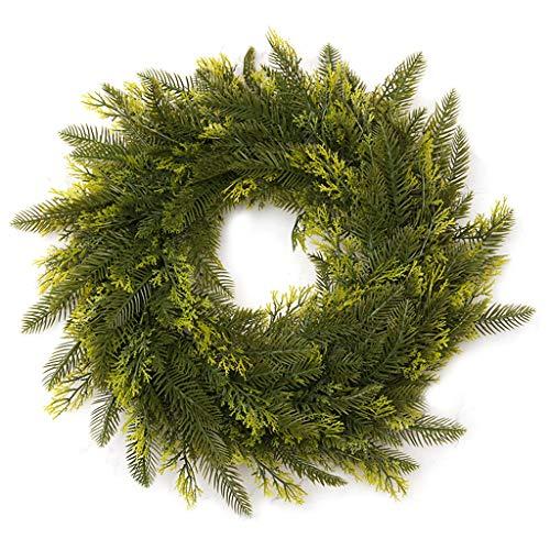 yasu7 Corona de Navidad de polietileno, colgante de ratán hecho a mano, guirnalda de Navidad para puerta de centro...