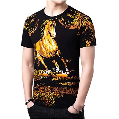 CZPF Heren Compressie Shirt Short-Sleeved T-Shirt Mode Persoonlijkheid Paard Pentium Patroon Print Half-Sleeved Shirt