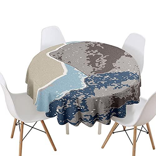 Highdi Impermeable Mantel de Redondo, 3D Resumen impresión Antimanchas Lavable Manteles Moderno Decoración para Salón, Cocina, Comedor, Mesa, Interior y Exterior (Camuflaje,Diámetro 200cm)