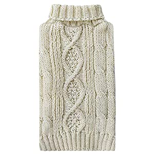 kyeese Dog Sweaters with Golden Thread Turtleneck Dog Cable Knit Pet Sweater for Cold Weather