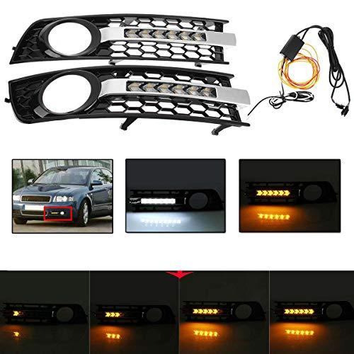 Liu xinling 2X LED Mesh Auto Front Nebel Licht Abdeckung Überzug Mesh Grille Gelb Fließende Blinker Lampe Weiß DRL Für Audi A4 B6 2001-2005