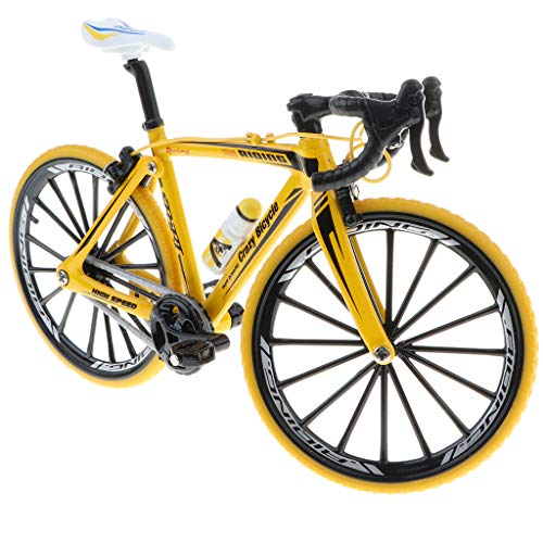 FLAMEER 1:10 Giocattolo di Bicicletta Simulazione Lega in Miniatura Opera d'Arte Ornamento per Casa Tavolo - Giallo 2