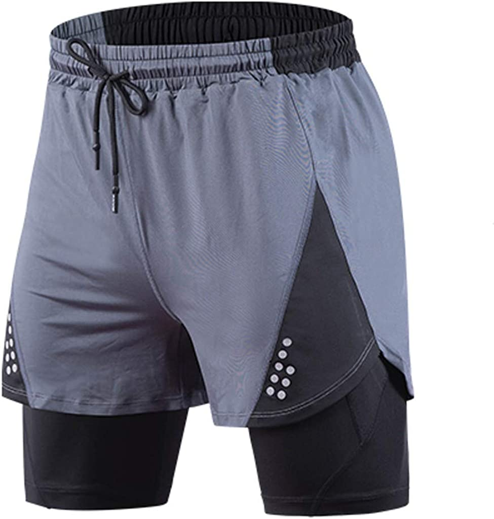 Gergeos Men's 2 in 1 Elasticity Lightweight Quick Dry Jogger Running Workout Shorts with Inner Compression Short