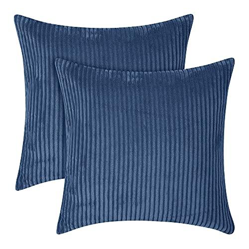 Amazon Brand - Umi Copricuscini in Velluto per Soggiorno Federa Decorativa Blu Marino 45x45cm 2 Pezzi