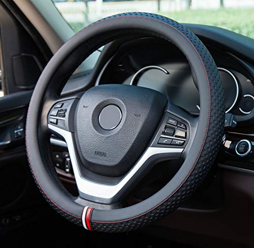 KAFEEK Steering Wheel Cover, Universal 15 inch, Microfiber Leather, Anti-Slip, Odorless,Sky Stars Black