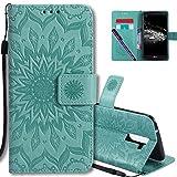 COTDINFORCA LG K10 Flip Case Emboss Mandala with Card Holder Slot Pockets, Wrist Strap, Magnetic Closure Premium PU Leather Case Cover for LG K10 (2016) / LG Premier LTE L62VL L61AL. Mandala Green